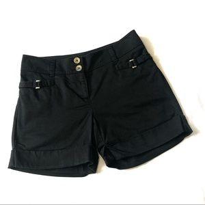 White house WHBM black silver buckle cuffed shorts